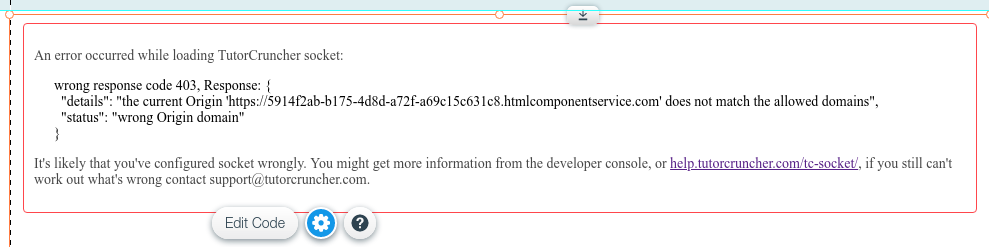 You may be required to add another domain to allow Wix to use TutorCruncher Socket.