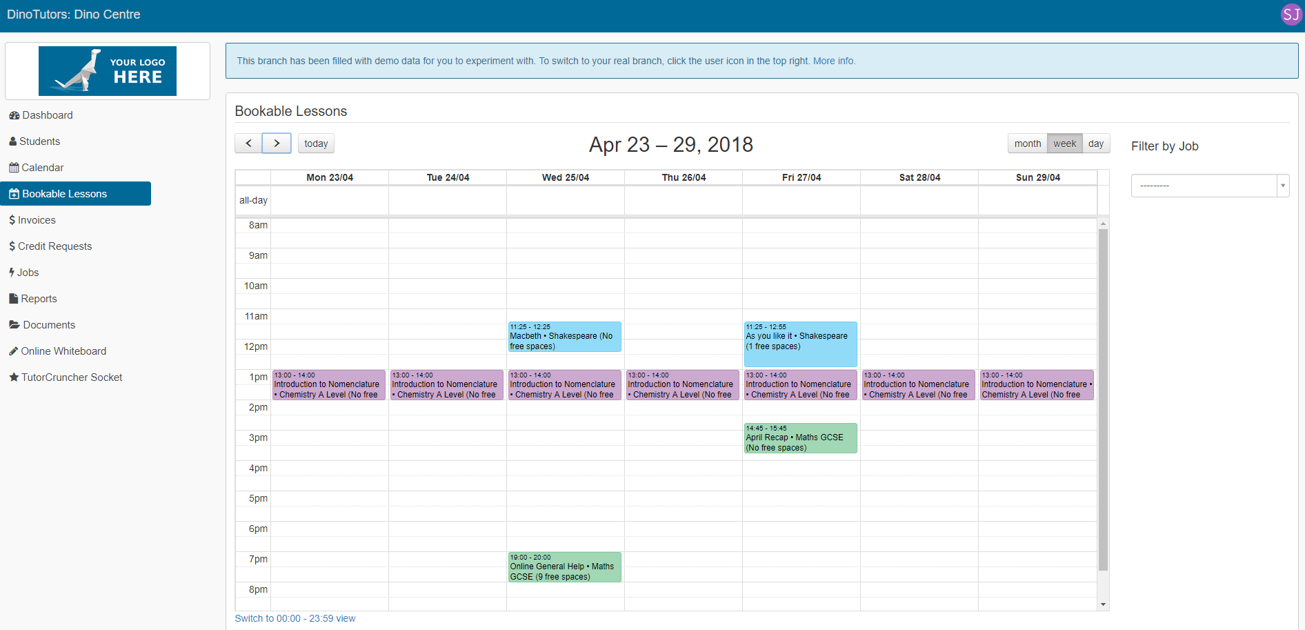 Clients can book lessons from the calendar.