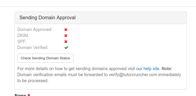 Your domain has been approved when you see four green ticks