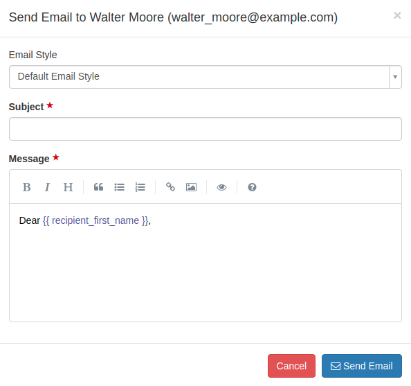 One Off Emails to Users