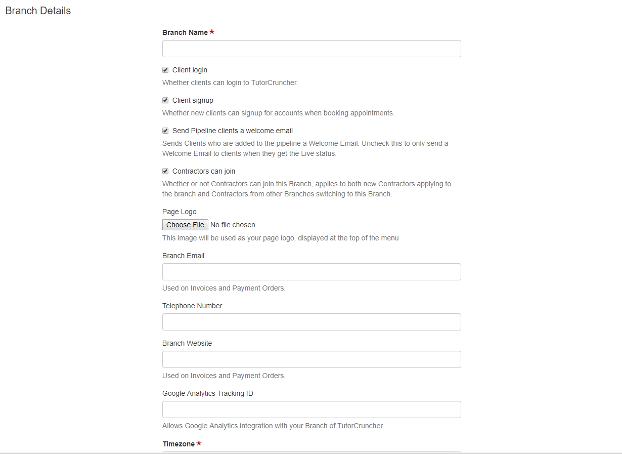 Edit your branch details under 'Branch Settings'.